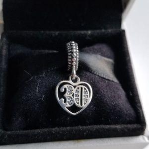 Pandora 30 Years Of Love Dangle Charm Silver w/box